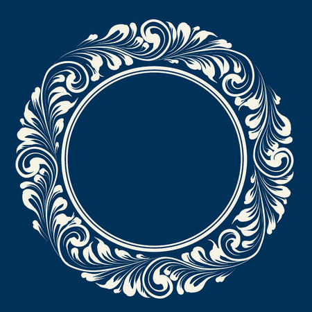 floral decoration: Circle white frame over blue background with decorative leaves. Floral frame with decorative elements. Vector illustration. Illustration