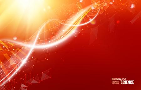 vida: Plantilla de la Ciencia para la tarjeta, papel pintado rojo o banner con moléculas de ADN de polígonos. Wireframe malla elemento poligonal. Resplandor de luz de fondo futurista. Ilustración del vector.