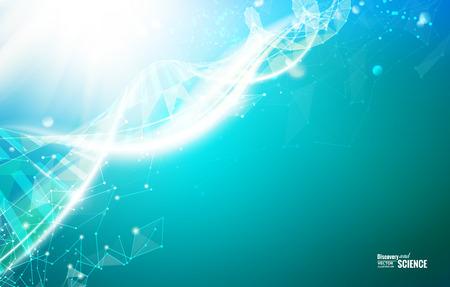 poligons의 DNA 분자와 카드, 녹색 벽지 또는 배너 과학 템플릿입니다. 와이어 프레임은 다각형 요소 메쉬. 빛 미래의 배경 노을. 벡터 일러스트 레이 션.