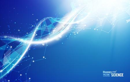 физика: Шаблон Наука для вашей карты, синий обои или баннер с молекулами ДНК многоугольников. Черно-белые сетки полигональной элемент. Свечение свет футуристический фон. Векторная иллюстрация. Иллюстрация