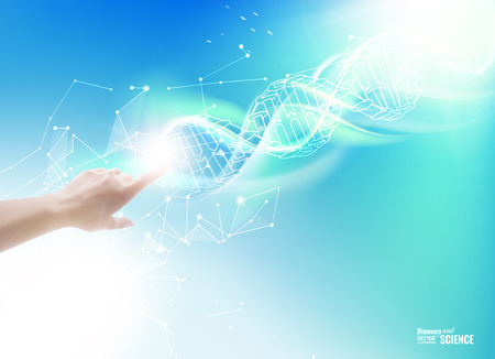 skin structure: Science concept image of human hand touching DNA. Vector illustration.