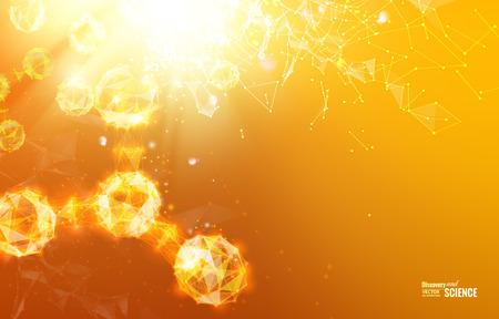 symbole chimique: R�sum� lumi�re orange fond d'atome pour la conception de la science. Vector illustration.