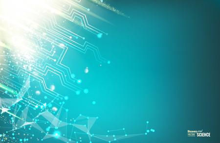 回路の青いライトの背景。科学プレゼンテーションのための抽象化です。ワイヤ メッシュの多角形要素。未来の抽象的な背景。ベクトルの図。