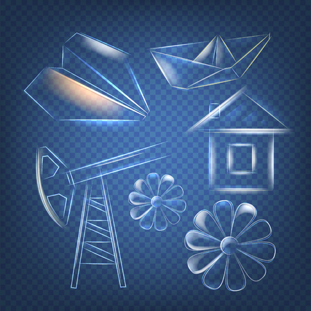 oilwell: Glass figures on transparent background. Working oil pump. Small glass house. Abstract glass flower. Vector illustration, contains transparencies, gradients and effects.