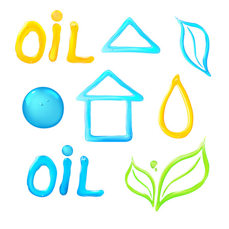 gelatin: Jelly figures on white background. Oil liquid text on a white background. Gel flower icon. Blue house of drop water.   Vector illustration.