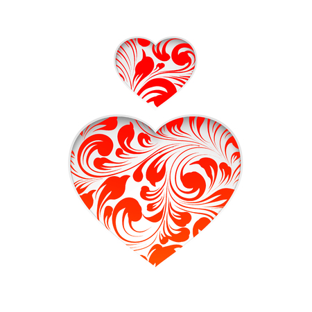 red shape: Red heart set, the simbol of love. Heart shape with red floral texture inside. Vector illustration. Illustration