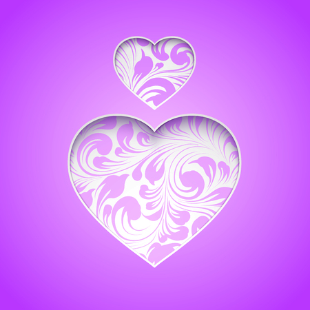 victims: Spirit day heart over prominent purple shade for your design. A symbol of support for LGBT youth who are victims of bullying. Vector illustration.