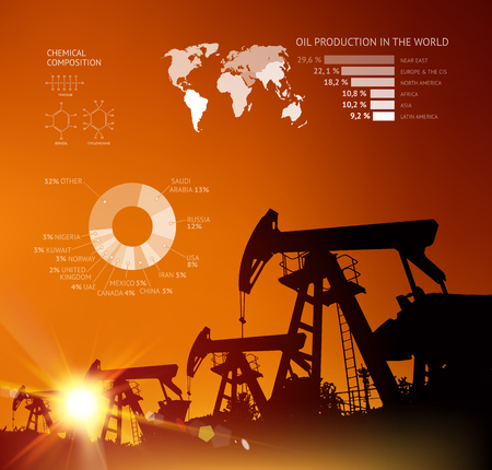 visualization: Oil derrick infographic with stages of process oil production. Illustration