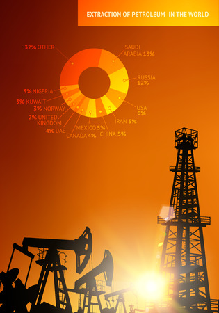 derrick: Oil derrick industrial machine for drilling at the sunset. Oil derrick infographic with stages of process oil production. Oil field over sunset. Vector illustration.