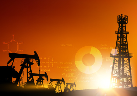 industrial machine: Oil derrick industrial machine for drilling at the sunset. Oil derrick infographic with stages of process oil production. Oil field over sunset. Vector illustration.