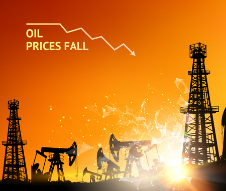 supply: Oil derrick industrial machine for drilling at the sunset. Oil derrick infographic with stages of process oil production. Oil field over sunset. Vector illustration.