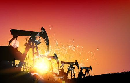 vertex: Oil derrick industrial machine for drilling at the sunset. Polygonal form with dots and lines. Abstract futuristic background with dots and lines. Oil field over sunset. Vector illustration.
