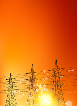 vertex: Electrical pylons over sunset background. Electrical transmission line of with bright spark. Polygonal form with dots and lines. Vector illustration. Illustration