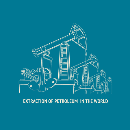Oil pump isolated over blue background and text. Vector illustration. Illustration
