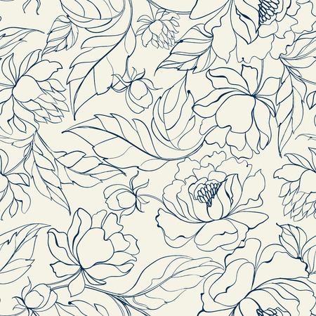 Modelo floral inconsútil con Peony. Fondos de escritorio de peonía de lujo en estilo vintage. Estampado de flores sobre fondo blanco. Ilustración del vector.