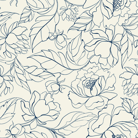 Seamless floral pattern with Peony. Luxurious peony wallpaper in vintage style. Floral pattern on white background. Vector illustration.