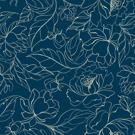 Seamless floral pattern with Peony. Luxurious peony wallpaper in vintage style. Floral pattern on blue background. Vector illustration.