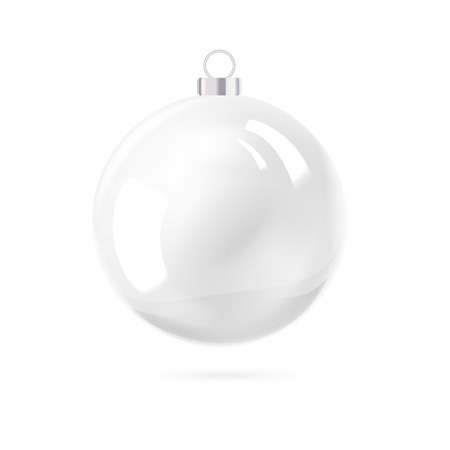 perl: White pearl. White sphere on white background. Holiday christmas toy for fir tree. Vector illustration, contains transparencies, gradients and effects.