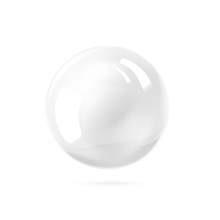 3d ball: White pearl. White sphere on white background. Abstract banner with white ball. Vector illustration, contains transparencies, gradients and effects.