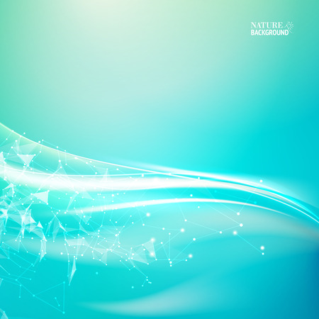 Wavy abstract blue background for your design. Abstraction for science. Blue background with polygonal network element and sun light. Vector illustration.