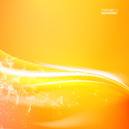 Shining orange flow. Wavy abstract orange background for your design. Abstraction for science. Vector illustration.