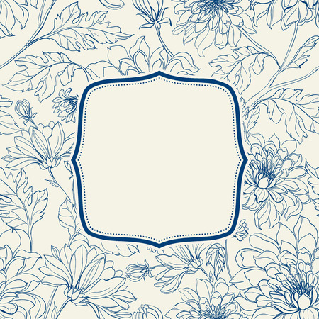 graphic art: Vintage card with flowers on background. Floral background pattern with chrysanthemums. Blue lines on white background. Vector illustration.