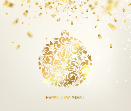 flowers bokeh: Golden confetti falls on the background. Ball with gzhel and khokhloma texture. Happy new year 2016. Holiday card. Template for your design. Vector illustration.