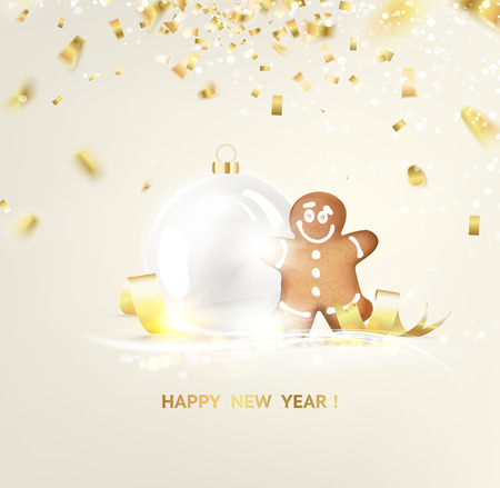 desolate: Gingerbread with sphere toys over holiday glow light and bokeh. Golden confetti falls on the background. Happy new year 2016. Holiday card. Template for your design. Vector illustration.
