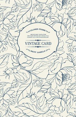 Vintage kaart met bloemen op de achtergrond. Floral patroon met chrysanten. Blauwe lijnen op een witte achtergrond. Vector illustratie.