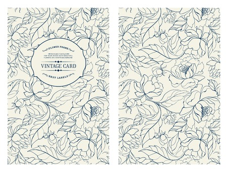 Vintage card with flowers on background. Book cover with chrysanthemums. Blue lines on white background. Vector illustration. Vettoriali