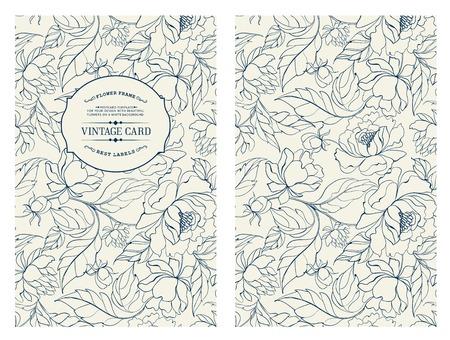 Vintage kaart met bloemen op de achtergrond. Cover van het boek met chrysanten. Blauwe lijnen op een witte achtergrond. Vector illustratie. Stock Illustratie