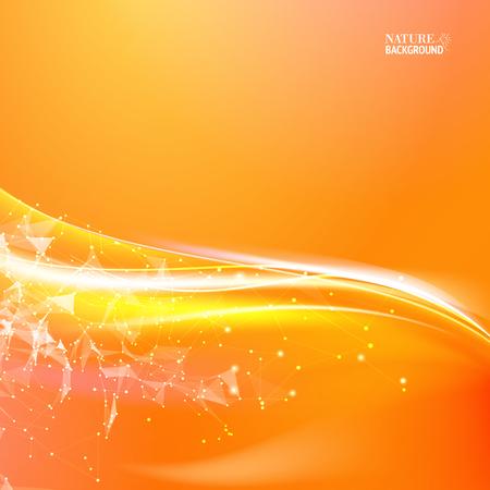 あなたのデザインの波状の抽象的なオレンジ色の背景。  イラスト・ベクター素材
