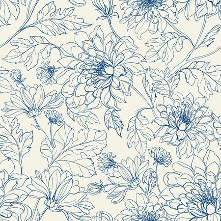 菊とシームレスな花柄。白い背景の青い線は。ベクトルの図。
