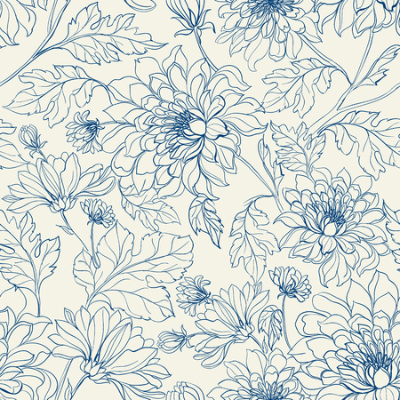 Seamless floral pattern with chrysanthemums. Blue lines on white background. Vector illustration. Imagens - 46196228