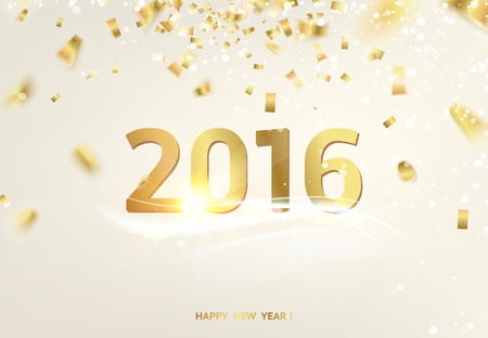 Happy new year card over gray background with golden sparks.