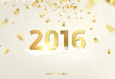 oro: Tarjeta de a�o nuevo feliz sobre fondo gris con chispas doradas.