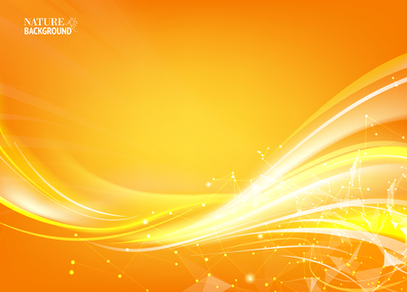 Orange background with polygonal network element and fantastic light. Vectores