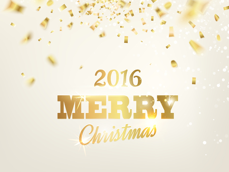 confetti white: Merry christmas card over gray background with golden sparks.  Illustration