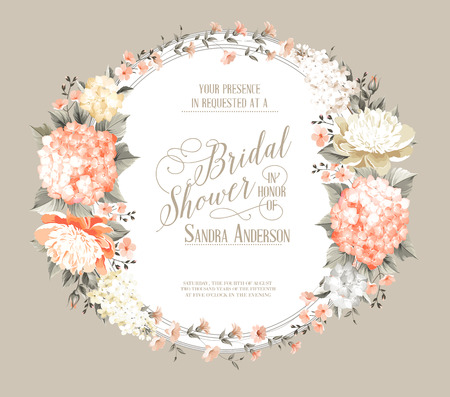 shabby: Awesome invitation card of color flowers.
