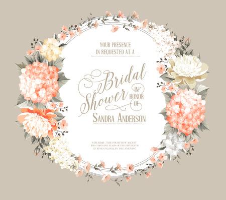 Fantastische Einladungskarte von Farbe Blumen. Standard-Bild - 46197008