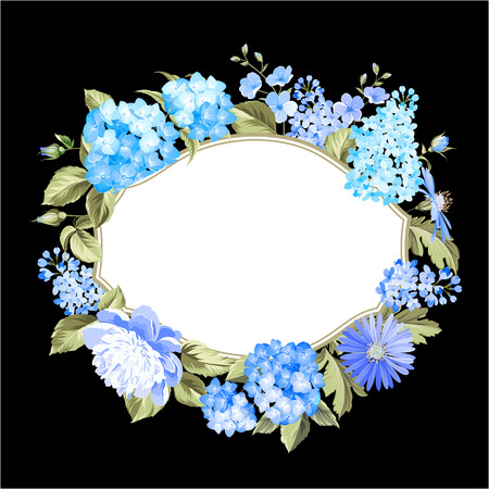 flores moradas: Guirnalda del color de las flores. Guirnalda Peony por tarjeta de vacaciones.