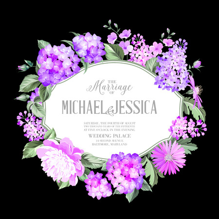 white frame: Awesome invitation card of color flowers Illustration
