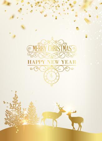 golden background: Deer silhouette over golden christmas card.