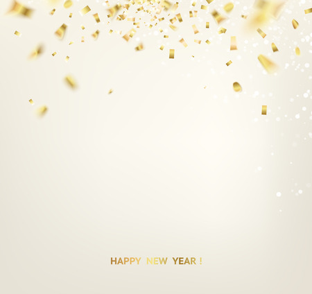 Golden confetti falls isolated over white background.