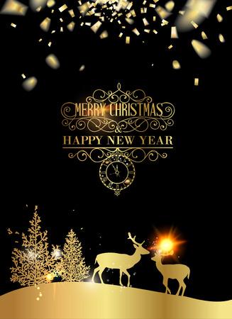 golden symbols: Deer silhouette over golden christmas card.