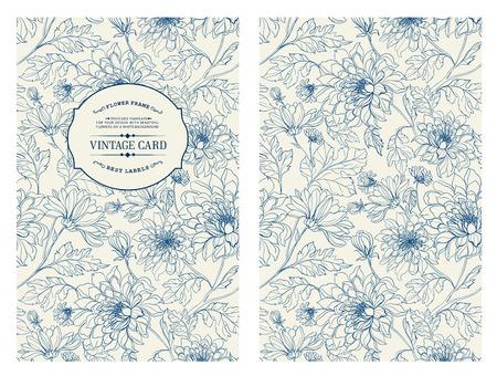 verschnörkelt: Vintage-Karte mit Blumen auf Hintergrund.