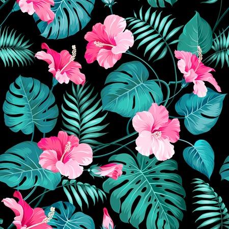 patrones de flores: Flores y palmeras de la selva tropical. Vectores
