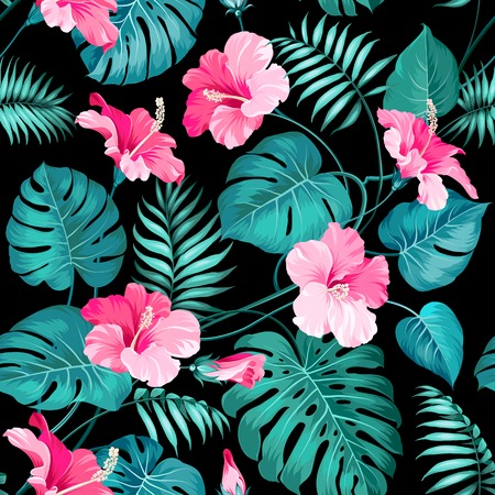 floral seamless pattern: Tropical flowers and jungle palms.