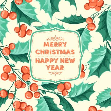 vintage leaf: Christmas mistletoe card with template text.
