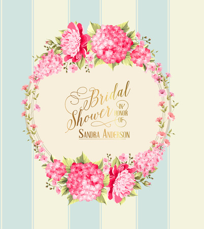 date: Awesome vintage label of color flowers over blue linear background. Vector illustration.